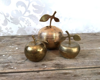 Brass Apple Trinket Dishes and figure, Candy Dish, Teachers gift, golden figurines, fruit, metal, small, apples