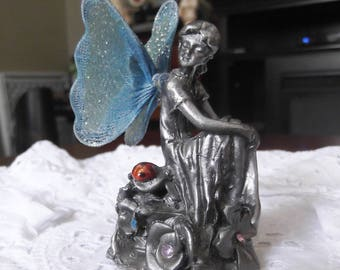 Pewter Fairie with Blue Wings Gemstones and a Ladybug Vintage Pewter Fairie