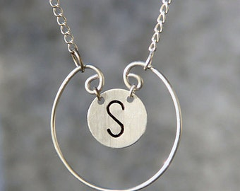 Silver Personalized hoop intial monogram charm necklace Bridesmaids gifts Free US Shipping handmade Anni Designs