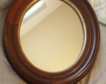 Vintage oval wooden mirror