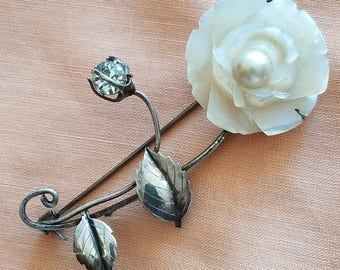 Vintage Rose Flower Brooch, Mother of Pearl Carved Rose with Pearl Center 950 Fine Silver Hosoki Japan