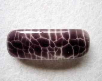 Purple Crackle on White Fused Glass Barrette