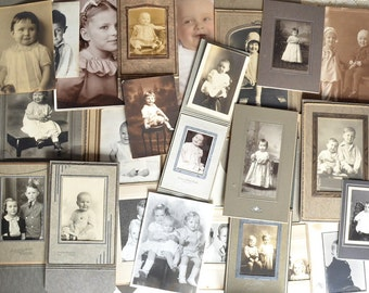 Lot of 24 Sweet Vintage Photographs of Children, Sepia, Black and White, Color