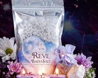 Reve Bath Salts, Herbs, and Candle Set