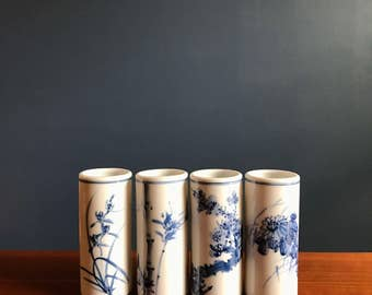 Chinese Blue Porcelain Bud Vases Set of 4