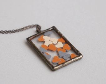 Confetti Hearts, Soldered Pendant, Glass Pendant, Heart Pendant,