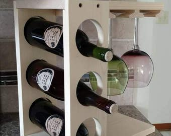 Wine rack with Stemware holder Countertop model Wood Pine or Dark Stain Espresso