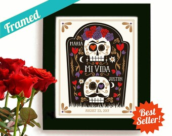 Sugar Skull Mexican Folk Art Halloween Wedding Gift Day of the Dead Mexico Wedding Dia de los Muertos Goth Couple Skeleton Art Goth Art