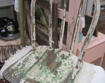 Shabby Chippy Shelf Chair Top Farmhouse Chic Prairie Paris Flea Market Primitive BOHO Bohemian