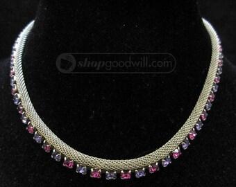Vintage Gold Tone Purple Magenta Rhinestone Necklace