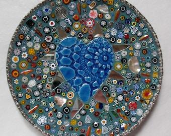 Mosaic Plate Millefiori Heart Tray