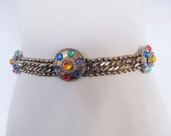 SALE :))) MEDIEVAL QUEEN . Chain Metal Medallions Heraldic Belt Bronze Color Colorful Rhinestones Nice Heavy Weight