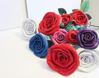 3rd Anniversary Gift- leather  flower- Leather rose- Wedding- Long Stem Flower- Valentines Day