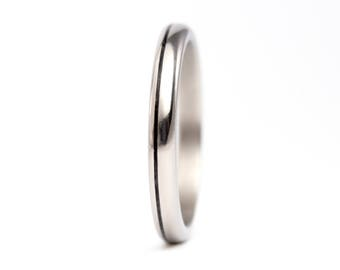 Women's titanium and carbon fiber ring. Unique and modern round wedding band. Water resistant, very durable and hypoallergenic. (00334_2N)
