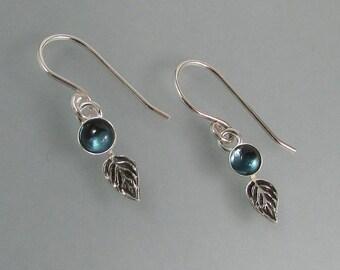 London blue topaz petal earrings - small sterling silver leaf earrings - December birthstone - nature inspired earrings -botanical earrings