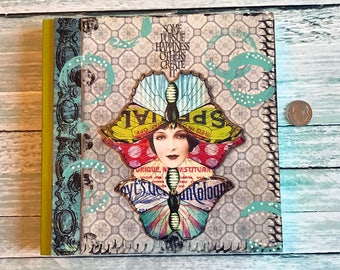 Mixed Media Art Journal Double Butterfly Blank Notebook
