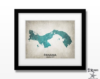 Panama Map Art Print - Home Is Where The Heart Is Love Map - Original Custom Map Art Print Available in Multiple Size and Color Options