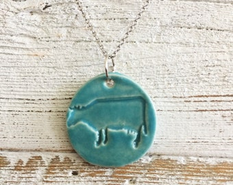 Ceramic Cow Pendant, Caribbean Blue, Unique Gift, Farm Animals, Cows, Country Girl, Gift Ideas, Ceramics, Unique, Ceramic Jewelry