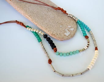 Leather and Bead Triple Strand Necklace, Composed Aqua Glass, White Bone, Pewter and Black Bone Beads on Knotted Natural Brown Dyed Leather