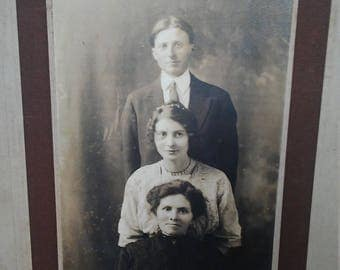 Antique Family Photograph 8x10 Siblings
