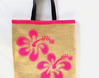 Pink hibiscus flowers, handmade jute beach bag 2017 , Hawaiian Prints, Aloha Hawaii, Luau Party, hand applique bag, tropical,exotic flowers
