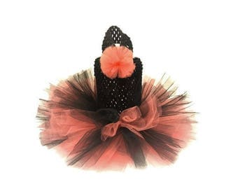 Cat Tutu - Coral and Black Cat Tutu-Tutu Dresses for Cats -Cat Dress - Cat Clothes - Black Cat Dress-Cat Clothing-Cat Wedding-Black Cat Tutu