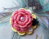 Handmade Crochet Flower Brooch. Handmade Brooch. Yellow and Pink Flower Brooch.