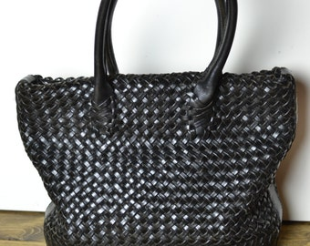 Vintage Boho Large Thick Woven Leather Tote Bag - Black