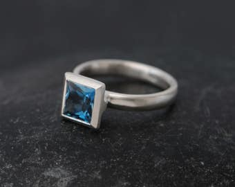 Square Blue Topaz Ring -  Princess Cut London Blue Topaz Ring - Blue Topaz Engagement Ring - Made to order - FREE SHIPPING