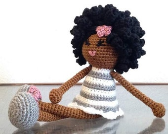 Crochet African American Doll in white gray mauve Plush Afro Natural Black Hair Stuffed Toy Baby Girl Gift MADE TO ORDER