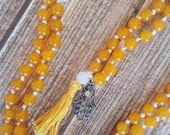 Hand Knotted Mala 108 Bead Mala Orange Jade Mala Beads Yellow Tassel Mala Necklace Yoga Mala Meditation Necklace