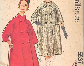 50% OFF 1961 Vintage McCall's Coat Sewing Pattern No. 5967, Size 14, Bust 34