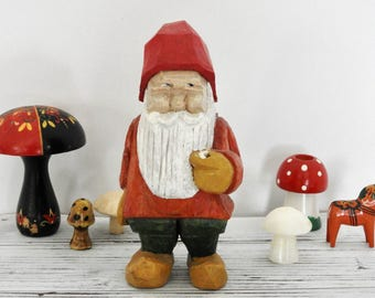 Hand Carved Wooden Gnome Figurine