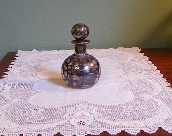 Vintage Sterling Silver Overlay DECANTER Perfume Oil Vinegar GLASS  Victorian Filigree bottle