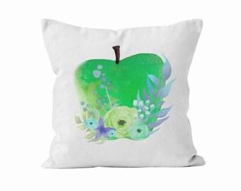 Pillow Cover, Green Apple, Original Watercolour Art, Throw Pillow Case w/optional insert, Teacher Gift, Unique Gift