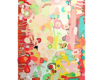 Large Original Abstract Art pretty vancouver artist melissa thorpe canadian office bright colourful colorful red, pink yellow painting