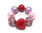 Toddler or Girls Purple, Pink and Red Heart Chunky Bracelet, Valentine's day chunky bracelet, Girls Princess bracelet, kids red bracelet