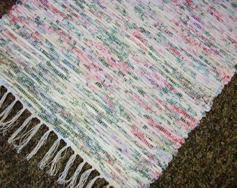 Handmade white pink and blue pastel  loom woven rag rug  south dakota made