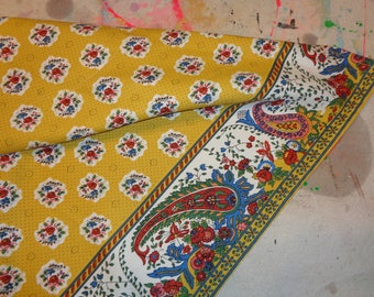 Vintage French Provence  Apron made for Williams-Sonoma, A Mustard Yellow with a Red and Blue floral design print pattern, French Country