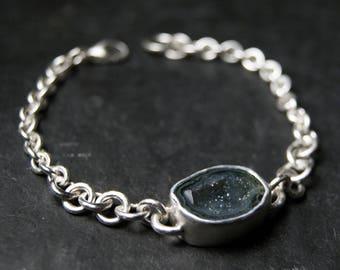 Grey Geode Bracelet in Sterling Silver