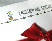 Personalized Teacher Notepad Note Cards Gift Set Little Birdies- Gifts Under 20