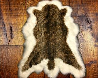 Faux Fur Area Rug - Brown and Off White Pelt Shape - Deer Skin - Shaggy Soft - Shag - Designer Fur Rugs  Fur Accents USA