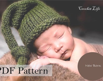 Baby stocking hat, PDF Pattern, Knitting pattern, Knit baby hat, Newborn Photo prop, Knit your own, Elf hat, long tail