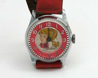 Vintage 1960s pink Barbie wrist watch, Mattel collectible, girls analog timepiece, ponytail, swiss made, mid century girl, leather band