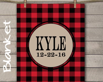 Plaid Buffalo Name Blanket Monogrammed Baby Shower Gift Announcement