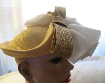 Vintage Ladies White/Gold/Straw Fabulous Hat by MR JOHN