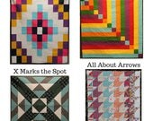 4 Quick and Easy Quilt Patterns, Baby / Toddler size, Throw Size, Beginner pattern, Novice Quilter, All about Arrows, X Marks the Spot