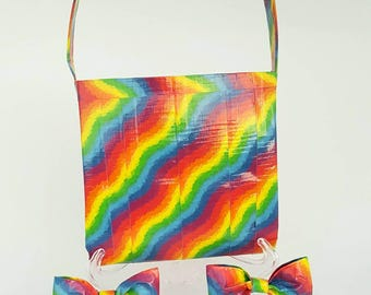 Kid's Rainbow Duct Tape Purse with matching hair bows, Rainbow Tote Bags for Girls, Kids Handbags for Girls, Girls Accessories, Kids Gifts