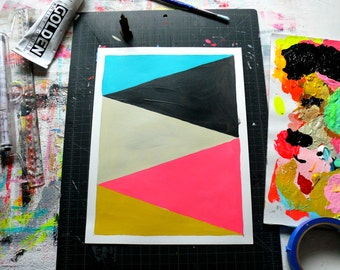 Geometric Abstract Original Painting, 12x9, Pink & Yellow  NY1661