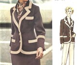 ON SALE NOW Pattern Vogue 2602 Jacket single breasted wide contrast edge binding welt pockets short skirt straight leg pants Size 14 Bill Bl